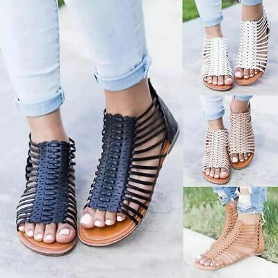 Womens Ladies Gladiator Sandals Strappy Flat Summer Holiday Beach Shoes Size 4-8