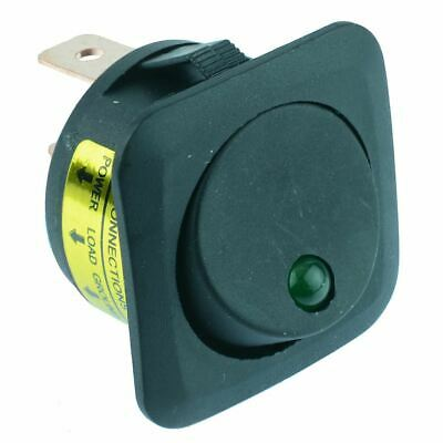 Red Dot illuminated Flanged Circular Rocker Switch SPST 12V