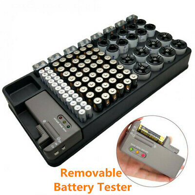 98 Batteries Various Sizes Organizer Storage Case with Removable Battery Tester
