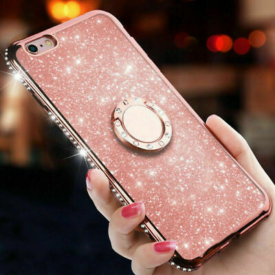 Diamond Ring Stand Bling Glitter TPU Case Cover For Huawei Honor 10 9 8A 7C 7A