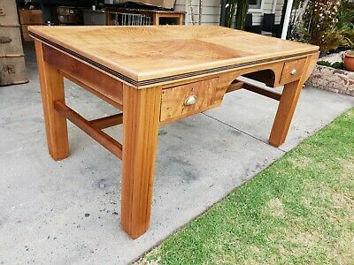 Refurbished Large Heavy Art Deco Office Study Computer Desk Table w Two Draws