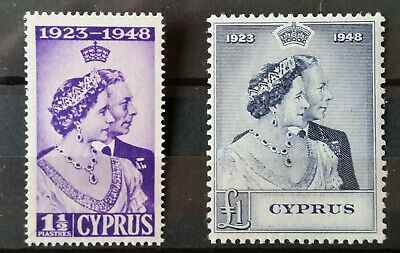 Cyprus 1948 SG166/167 Silver Wedding mint hinged