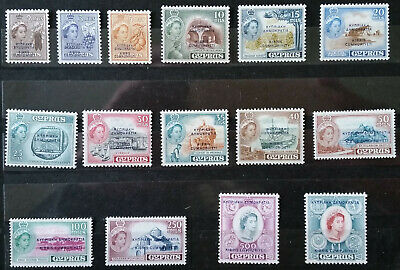 Cyprus 1955 SG 188/202 Independence definitives mint never hinged complete