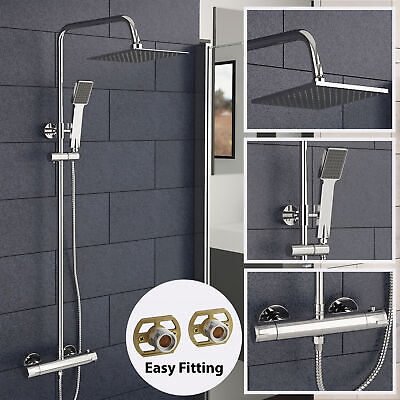 Thermostatic Shower Mixer Set Slim Square Twin Head Exposed Rainfall Unit