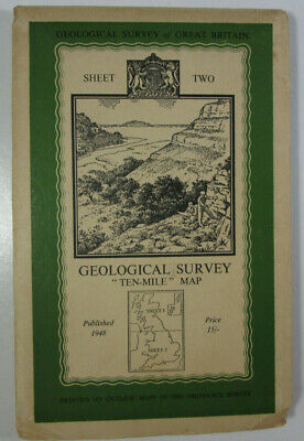 1948 Old Vintage OS Geological Survey Ten-Mile CLOTH Map South Sheet Two