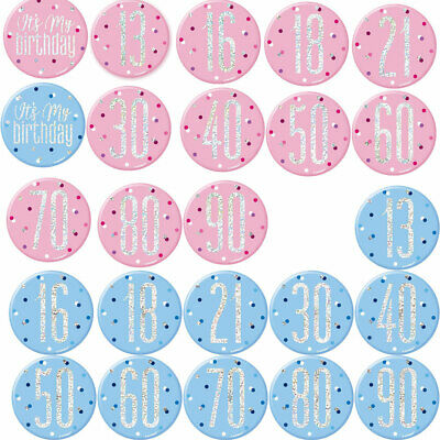 """3"""" Badge Birthday Party Ages 13 - 100 Male Female Boy Girl Light Pink Blue"""