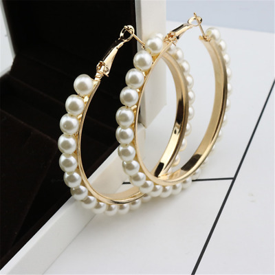 1 Pair Women Fashion Jewelry Pearl Gold Silver Plated Ear  Circle Earrings Trend