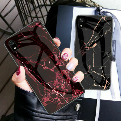 For XiaoMi RedMi 7A, Luxury Hybird Marble Tempered Glass Soft Frame Case Cover
