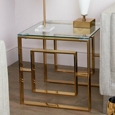 Plaza Gold Contemporary Clear Glass Side End Hall Display Drinks Lamp Table