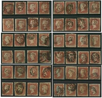 GB QV PENNY REDS IMPERF UNPLATED from OLD ACCUMULATION 8 STAMPS Unchecked