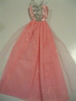 Barbie Clothes Dress Gown - Pink With Silver Bows (Doll Not Included)