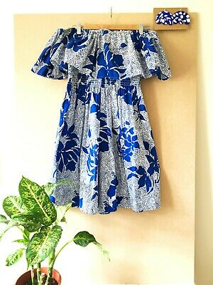 80s 90s Blue White BARDOT Frill PLAYSUIT Jungle FLORAL Print Matisse Abstract M