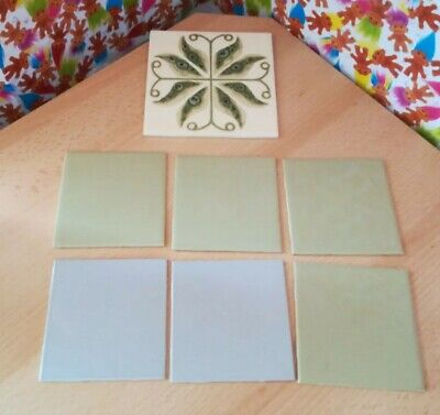 7 Vintage Ceramic Wall Tiles Retro Vintage Collectables Green Grey Collectables