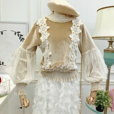 Women Lady Lace Velvet Ruffle Neck Tops Blouse Floral Retro Puff Sleeve Casual