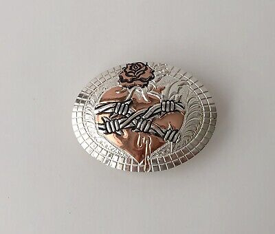 CRUMRINE MFG Western Silver Gold Tone Floral Oval Buckle Made in USA