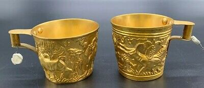 Rare Ancient Greek Mycenaean Art Replica Gold Bull Cretan Cups Hand Made Greece