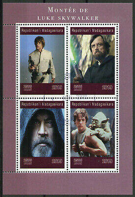 Madagascar 2019 CTO Luke Skywalker Mark Hamill Yoda 4v M/S Star Wars Stamps