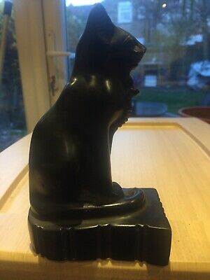 Collectible Egyptian Wild Cat Standing with a Cobra on its chest & hieroglyphics