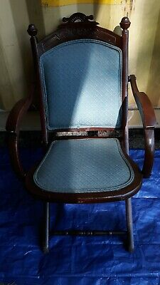 Antique/ Vintage Folding Solid Wood Chair with padded seat and back