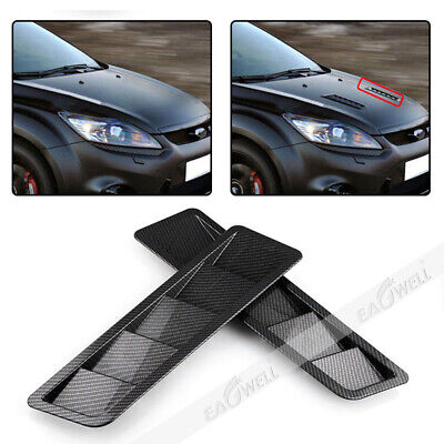 Universal Carbon Fiber Look Style Hood Vent Louver Cooling Panel Trim Accessory