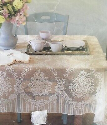 """Vintage Tablecloth Ivory Lace Off White Cutter Large 58x70"""" Oblong Rectangle"""
