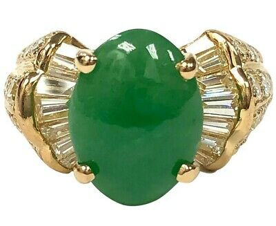GIA-Certified 6.13 ct Type A Jadeite Jade, 18K Gold & 1.85 ctw Diamond Ring