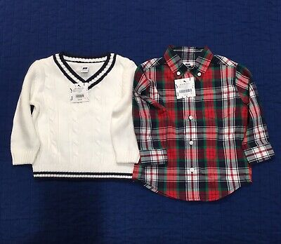 **Janie and Jack** Boy's Shirt and Sweater 12-18 months NEW retails $85
