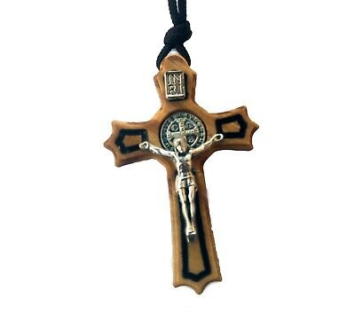 St Saint Benedict Crucifix Cross Olive Wood Christian Pendant Necklace 1.55 inc