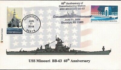 2019 USS Missouri FDC & Commissioning Anniversary Combo Cover - McIntosh Cachets