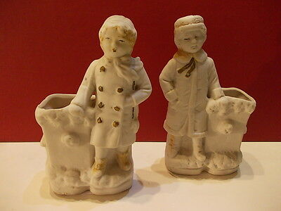 Pair of antique German biscuits match holders, spil or toothpick holders