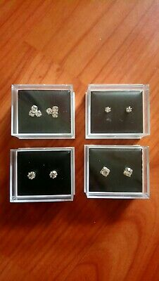 Different Pairs Of Crystal Diamante Stud Earrings Gift Boxed 3 Pairs