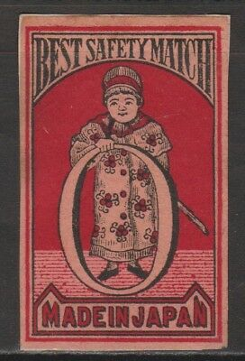 Old Matchbox Label Japan, Man Holding A Circle