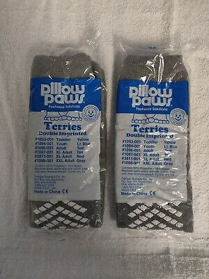 2-Pair Pillow Paws XXL Adult 10.5+ Gray Double Tread Hospital Home Slipper Sock