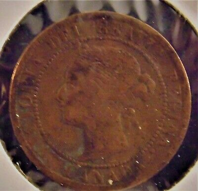 1895 Canada One Cent Victoria Dei Gratia Regina Penny Circulated Canadian Coin