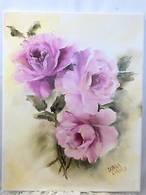 Shabby Chic Victorian Antique Handpainted Oil On Canvas Pink Roses 11x14 Signed