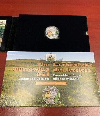 The Burrowing Owl Stamp And Coin Set RCM Fine Silver Coin - 4,000 Sets LIMITED E