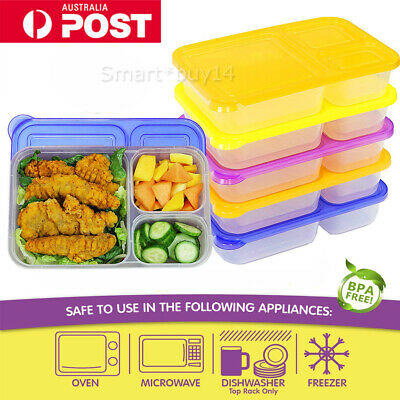 NEW 2/4/5X Meal Prep Containers 3 Compartment Lunch Boxes Food Storage with Lids