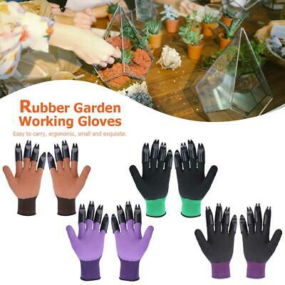 1Pair Garden Gloves with 8 Fingertips Claws Latex Raking Digging Planting Gloves