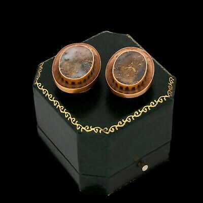Antique Vintage Nouveau 14k Yellow Gold Gold Bearing In Quartz Mens Cufflinks