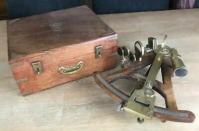 Vintage ROSS Brass & Wooden Marine Nautical Sextant With BOX