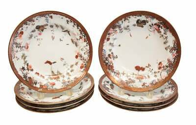 8 Japanese Porcelain Rimmed Soup Bowls, Butterflies & Insects, Meiji Period