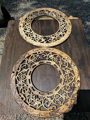 ANTIQUE ORNATE  ROUND CAST IRON STOVE COVERS Choice of One