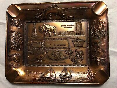 Vintage Copper North Dakota Souvenier Ashtray