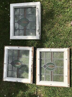 Set Of 3 Pretty 1930s stained glass window panels