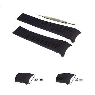 20,22mm Black Rubber Watch Band Strap Comp. Tag Heuer Carrera FT6007+Tool