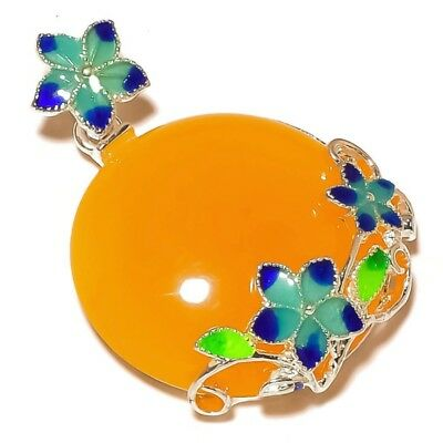 Yellow Chalcedony Gemstone silver plated Cloisonne Flower Hand-Carved Pendant