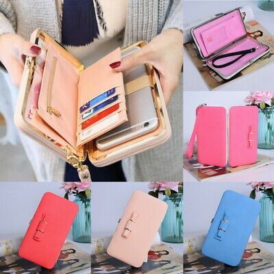 New Women Lady PU Leather Clutch Wallet Long Card Holder Purse Box Handbag Bag