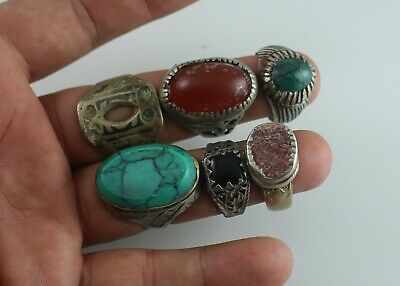 Lot Of 6 Antique Afghan Kuchi Rings Vintage Tribal Hancrafted Alpaca Silver Old