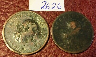 2 Antique George Iii Copper Halfpennies Dated 1806 And 1807 - Job Lot 2626