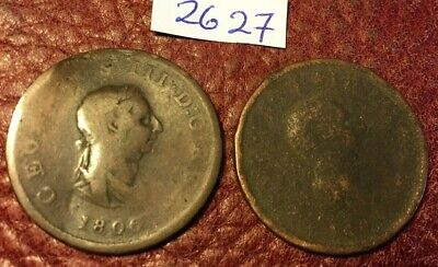2 Antique George Iii Copper Halfpennies Dated 1806 And 1807 - Job Lot 2627